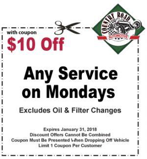 $10 Off Any Service on Mondays